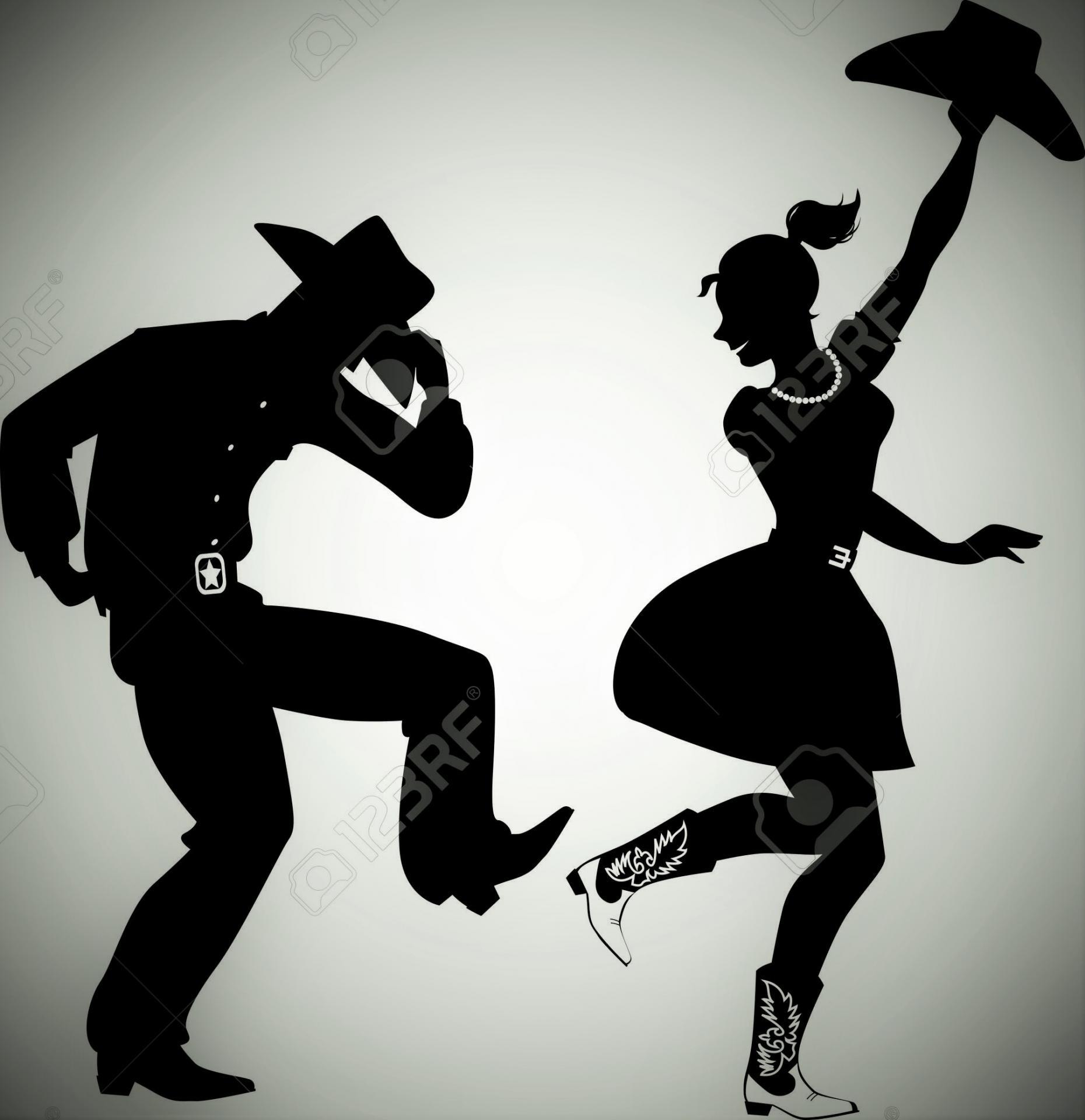 37354449 silhouette noire d un couple habill dans des v tements traditionnels occidentaux style bottes de cow banque d images copie
